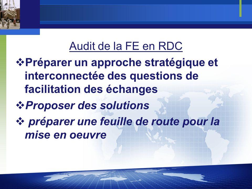 Audit de la FE en RDC Préparer un approche stratégique et interconnectée des questions de facilitation des échanges Proposer des solutions préparer une feuille de route pour la mise en oeuvre