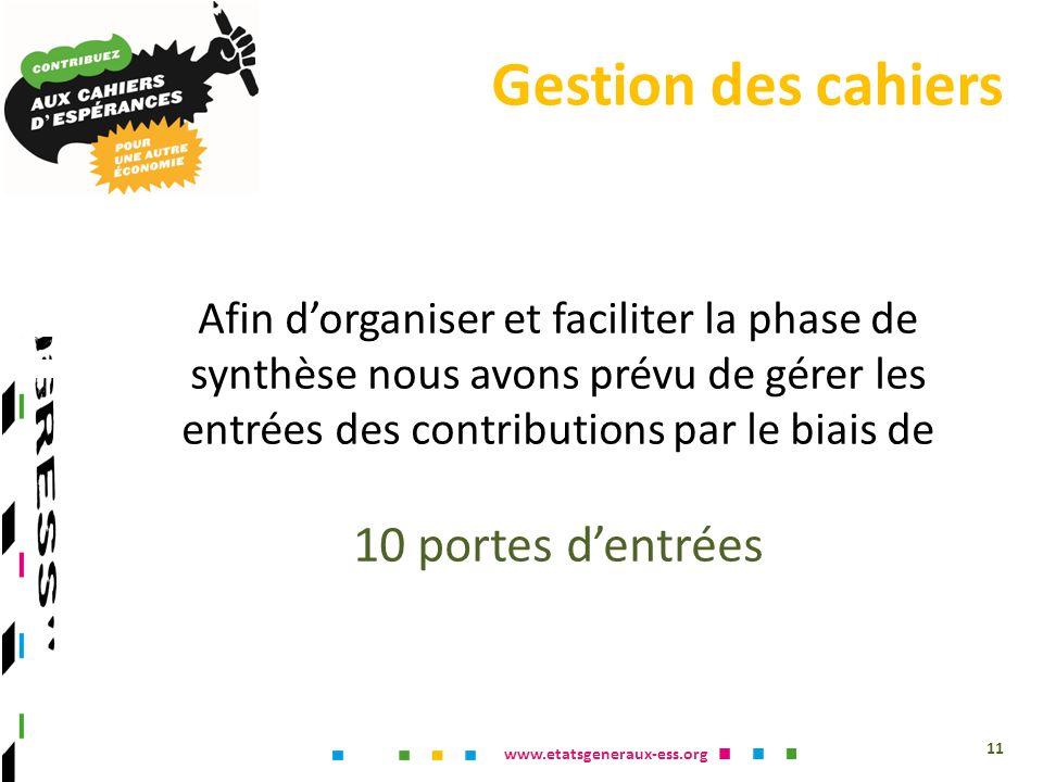 www.etatsgeneraux-ess.org 11 Afin dorganiser et faciliter la phase de synthèse nous avons prévu de gérer les entrées des contributions par le biais de 10 portes dentrées Gestion des cahiers