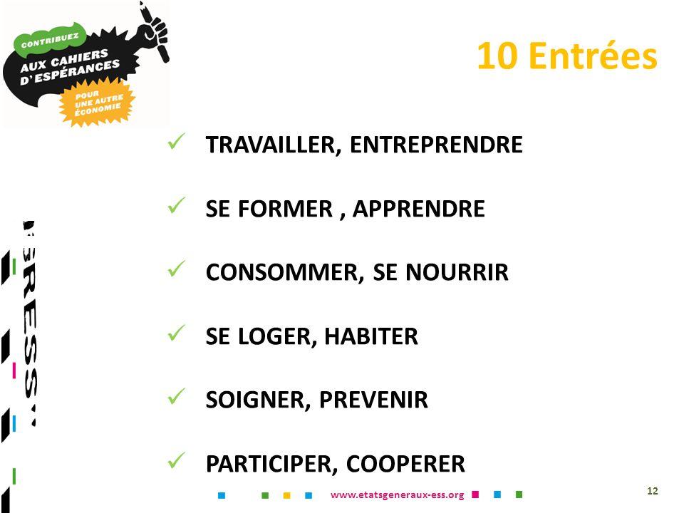 www.etatsgeneraux-ess.org TRAVAILLER, ENTREPRENDRE SE FORMER, APPRENDRE CONSOMMER, SE NOURRIR SE LOGER, HABITER SOIGNER, PREVENIR PARTICIPER, COOPERER FINANCER, EPARGNER CREER, SÉVADER RENOUVELER, RAJEUNIR GOUVERNER, DEMOCRATISER 12 10 Entrées