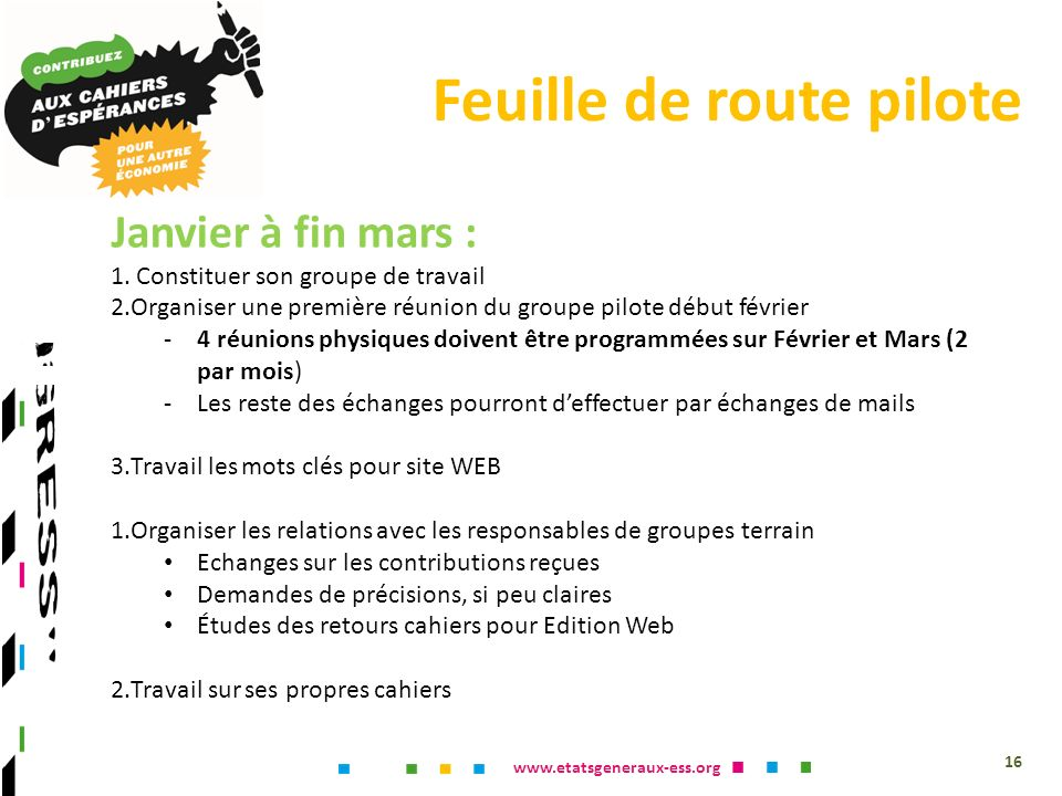 www.etatsgeneraux-ess.org Feuille de route pilote 16 Janvier à fin mars : 1.