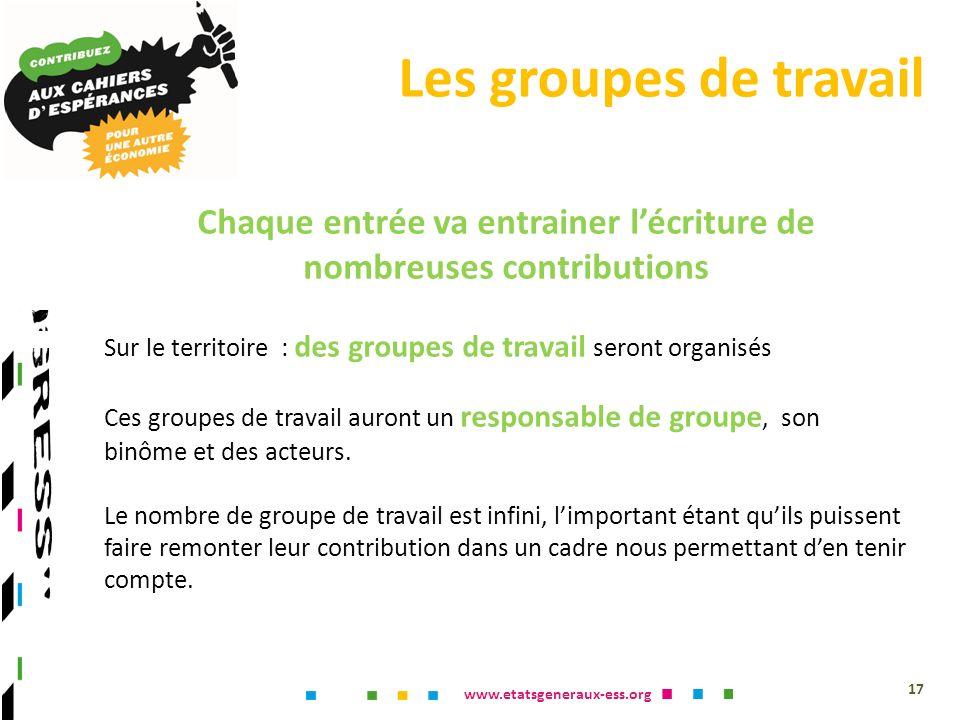 www.etatsgeneraux-ess.org Chaque entrée va entrainer lécriture de nombreuses contributions Sur le territoire : des groupes de travail seront organisés Ces groupes de travail auront un responsable de groupe, son binôme et des acteurs.
