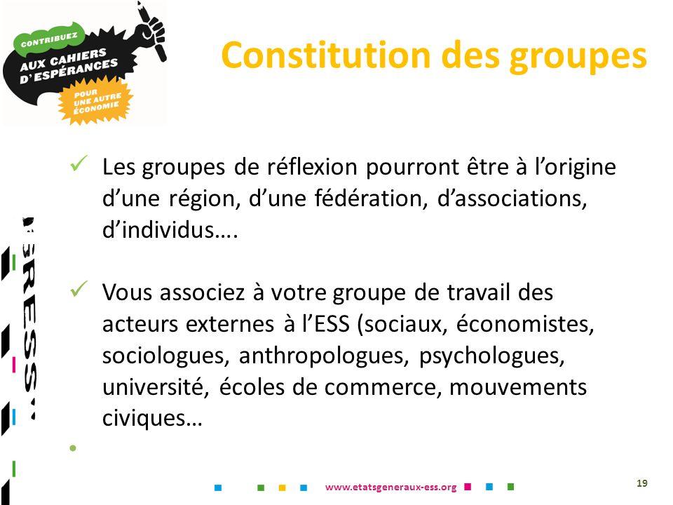 www.etatsgeneraux-ess.org Constitution des groupes 19 Les groupes de réflexion pourront être à lorigine dune région, dune fédération, dassociations, dindividus….