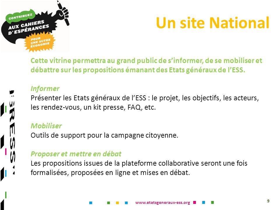 www.etatsgeneraux-ess.org Un site National 9 Cette vitrine permettra au grand public de sinformer, de se mobiliser et débattre sur les propositions émanant des Etats généraux de lESS.