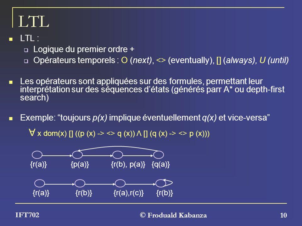 © Froduald Kabanza 10 IFT702 LTL LTL : Logique du premier ordre + Opérateurs temporels : O (next), <> (eventually), [] (always), U (until) Les opérate