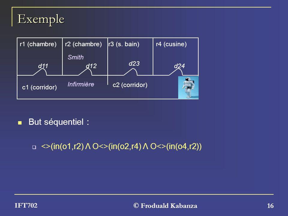 © Froduald Kabanza 16 IFT702 Exemple But séquentiel : <>(in(o1,r2) Λ O<>(in(o2,r4) Λ O<>(in(o4,r2)) r1 (chambre)r2 (chambre) c1 (corridor) r4 (cusine)