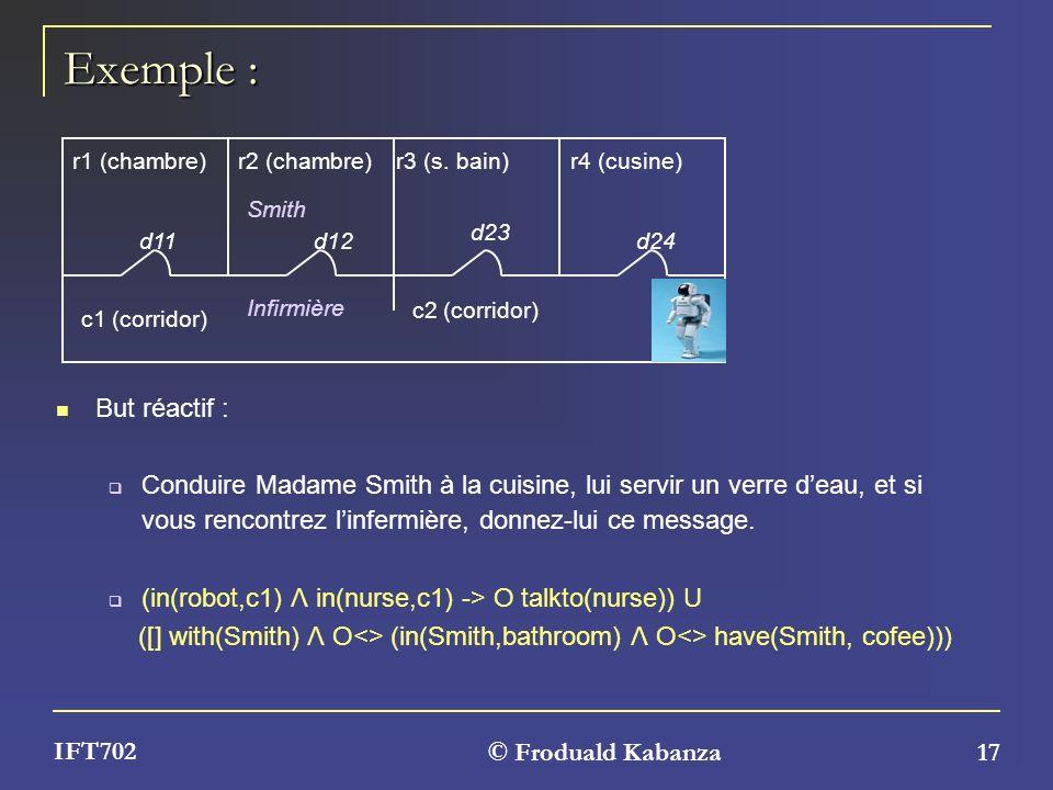 © Froduald Kabanza 17 IFT702 Exemple : But réactif : Conduire Madame Smith à la cuisine, lui servir un verre deau, et si vous rencontrez linfermière,