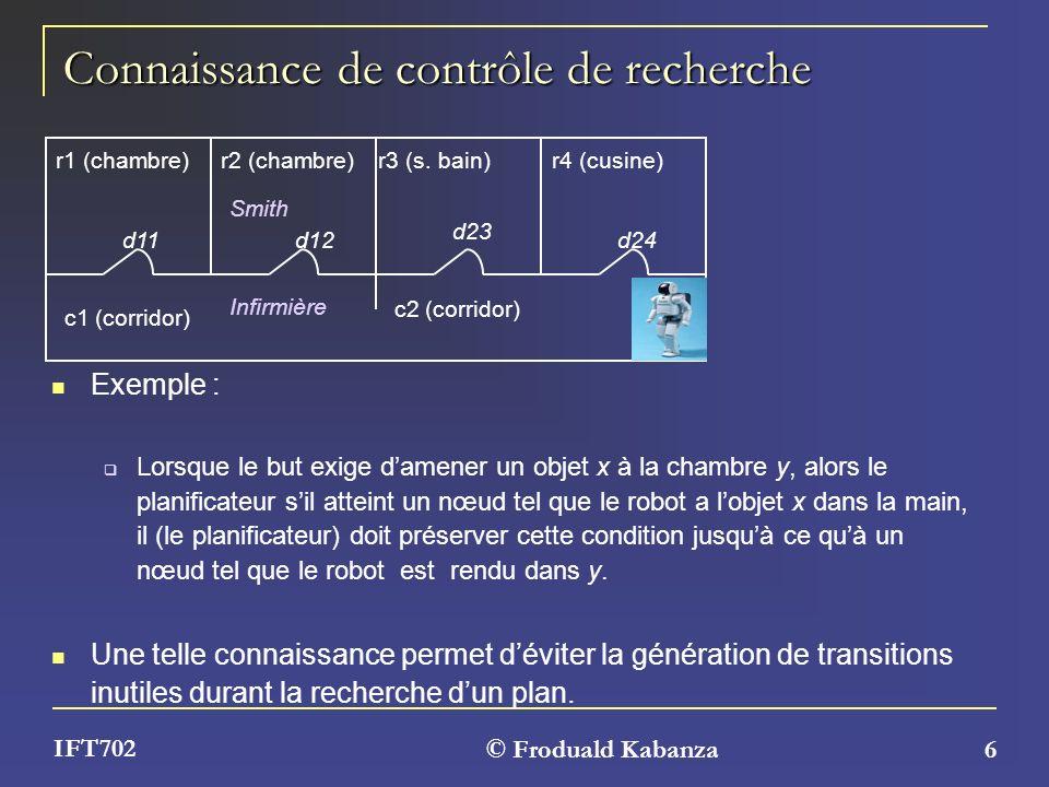© Froduald Kabanza 6 IFT702 Connaissance de contrôle de recherche Exemple : Lorsque le but exige damener un objet x à la chambre y, alors le planifica