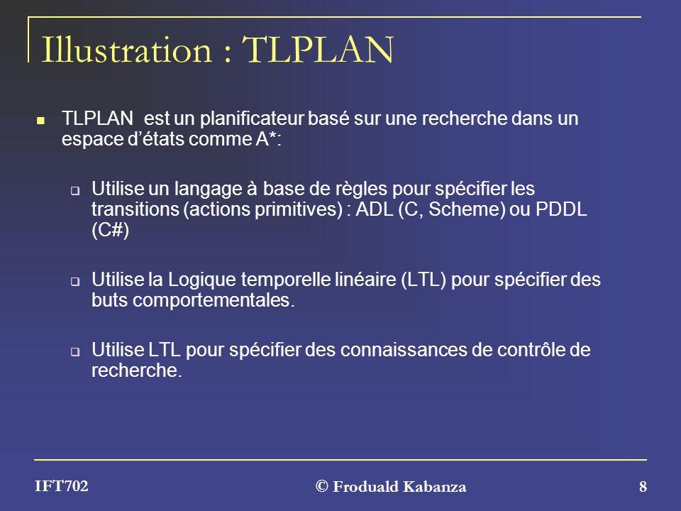 © Froduald Kabanza 8 IFT702 Illustration : TLPLAN TLPLAN est un planificateur basé sur une recherche dans un espace détats comme A*: Utilise un langag