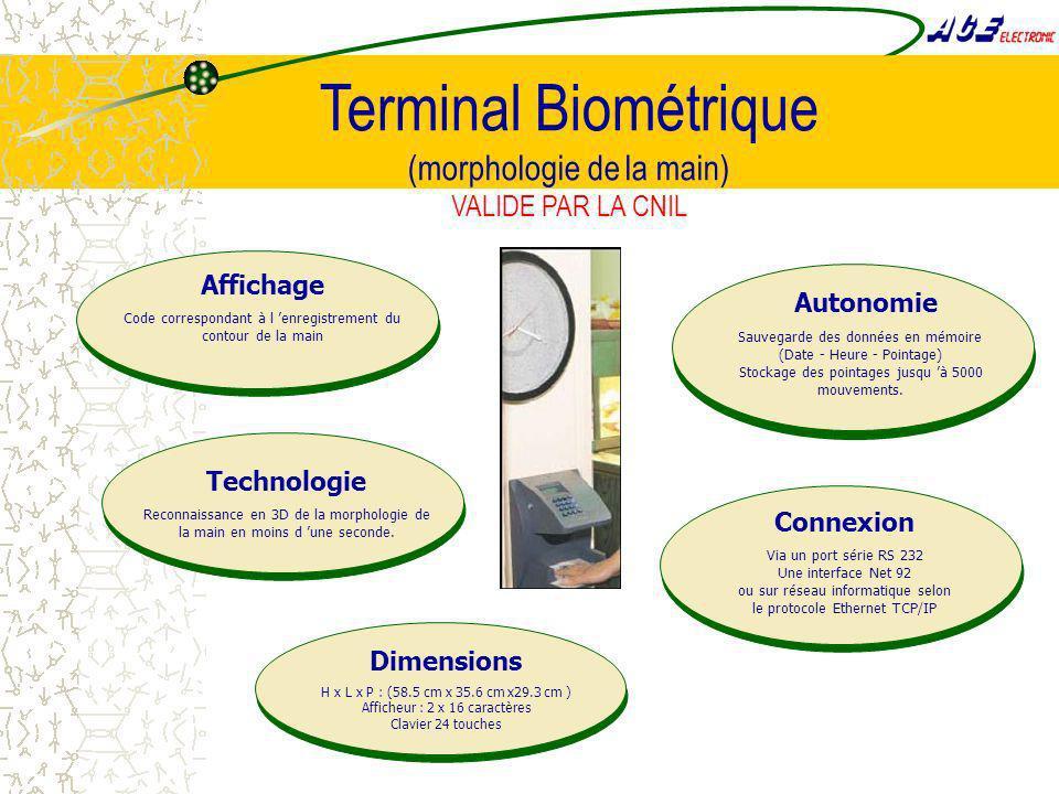 Terminal Biométrique (morphologie de la main) VALIDE PAR LA CNIL Affichage Code correspondant à l enregistrement du contour de la main Technologie Reconnaissance en 3D de la morphologie de la main en moins d une seconde.