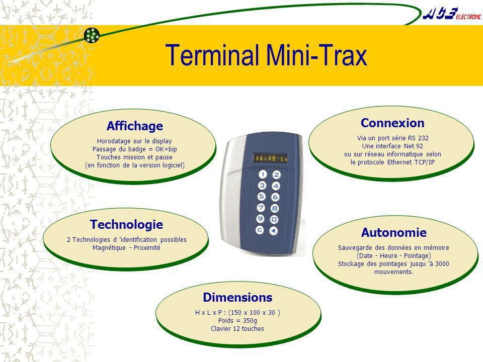 Terminal Mini-Trax Affichage Horodatage sur le display Passage du badge = OK+bip Touches mission et pause (en fonction de la version logiciel) Technol