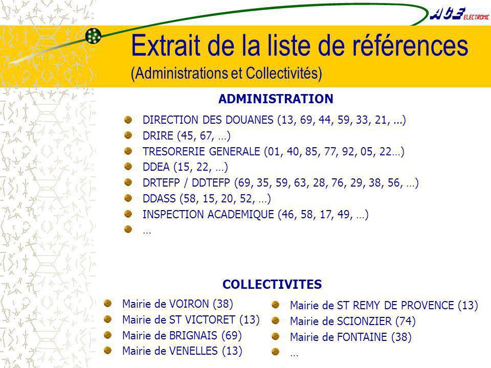 Extrait de la liste de références (Administrations et Collectivités) DIRECTION DES DOUANES (13, 69, 44, 59, 33, 21,...) DRIRE (45, 67, …) TRESORERIE GENERALE (01, 40, 85, 77, 92, 05, 22…) DDEA (15, 22, …) DRTEFP / DDTEFP (69, 35, 59, 63, 28, 76, 29, 38, 56, …) DDASS (58, 15, 20, 52, …) INSPECTION ACADEMIQUE (46, 58, 17, 49, …) … ADMINISTRATION Mairie de VOIRON (38) Mairie de ST VICTORET (13) Mairie de BRIGNAIS (69) Mairie de VENELLES (13) Mairie de ST REMY DE PROVENCE (13) Mairie de SCIONZIER (74) Mairie de FONTAINE (38) … COLLECTIVITES