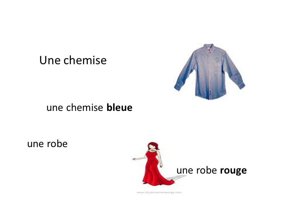 Une chemise une chemise bleue une robe une robe rouge