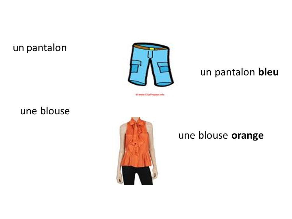 un pantalon un pantalon bleu une blouse une blouse orange