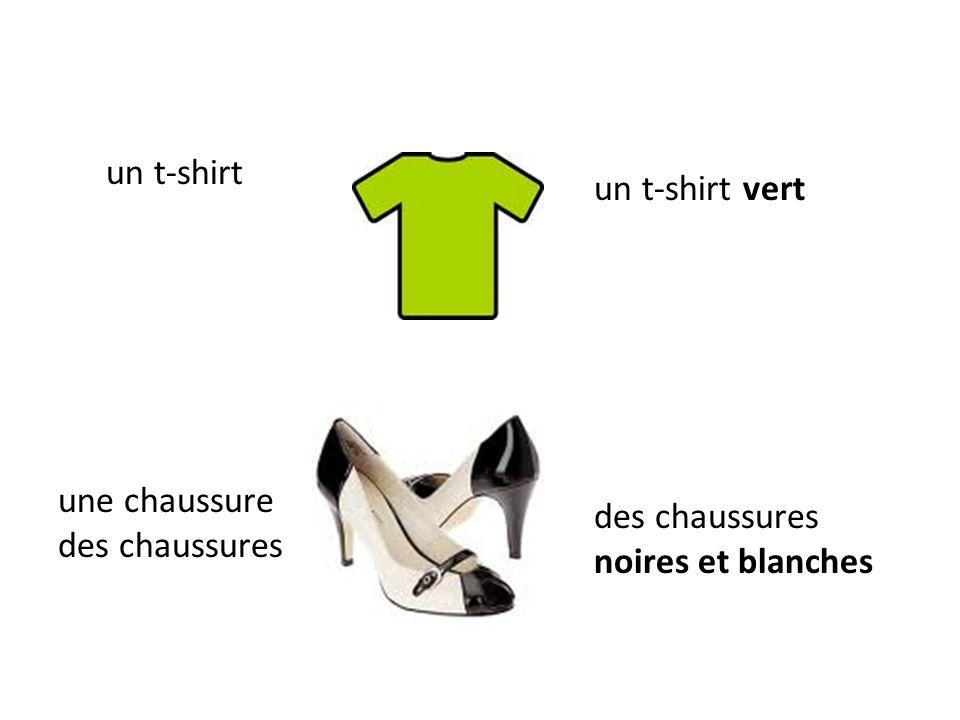 un t-shirt un t-shirt vert une chaussure des chaussures des chaussures noires et blanches