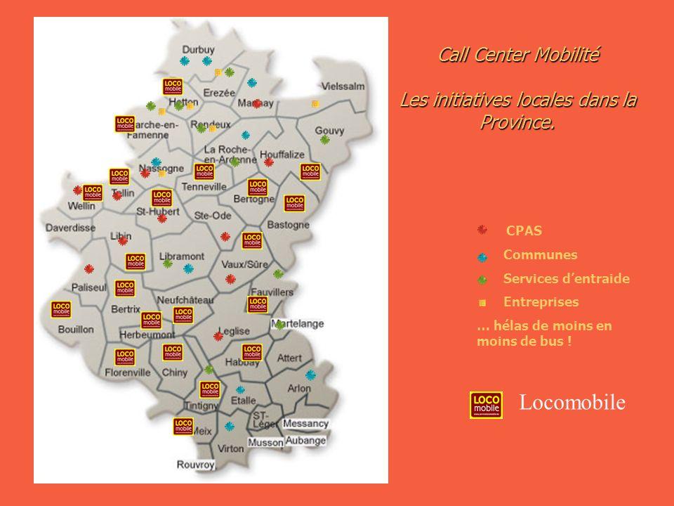 CPAS Communes Services dentraide Entreprises … hélas de moins en moins de bus ! Call Center Mobilité Les initiatives locales dans la Province. Locomob