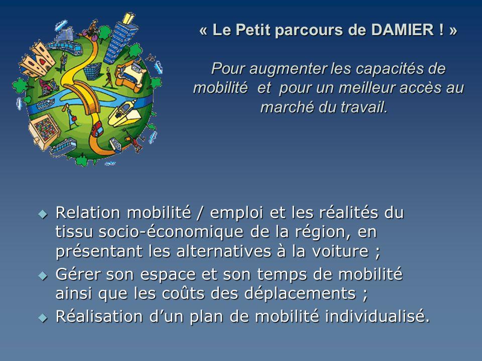 Relation mobilité / emploi et les réalités du tissu socio-économique de la région, en présentant les alternatives à la voiture ; Relation mobilité / e