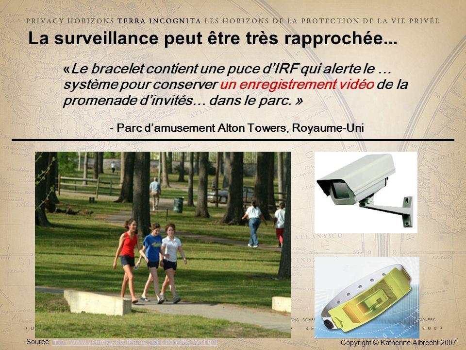 29e CONFÉRENCE INTERNATIONALE DES COMMISSAIRES À LA PROTECTION DES DONNÉES ET DE LA VIE PRIVÉE 29 th INTERNATIONAL CONFERENCE OF DATA PROTECTION AND PRIVACY COMMISSIONERS Copyright © Katherine Albrecht 2007 Source: http://www.yourday.biz/theme-park-benefits/faq.html http://www.yourday.biz/theme-park-benefits/faq.html La surveillance peut être très rapprochée...
