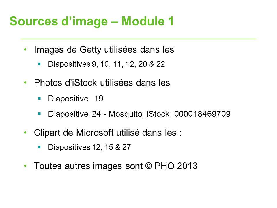 Sources dimage – Module 1 Images de Getty utilisées dans les Diapositives 9, 10, 11, 12, 20 & 22 Photos diStock utilisées dans les Diapositive 19 Diap