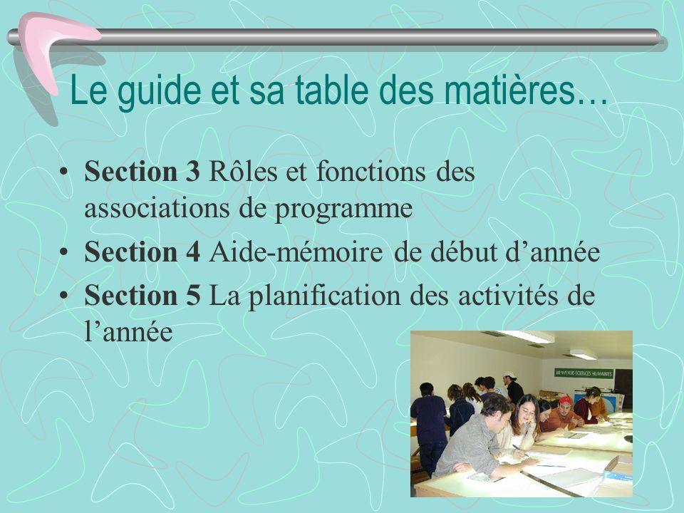 Le guide et sa table des matières… Section 3 Rôles et fonctions des associations de programme Section 4 Aide-mémoire de début dannée Section 5 La plan