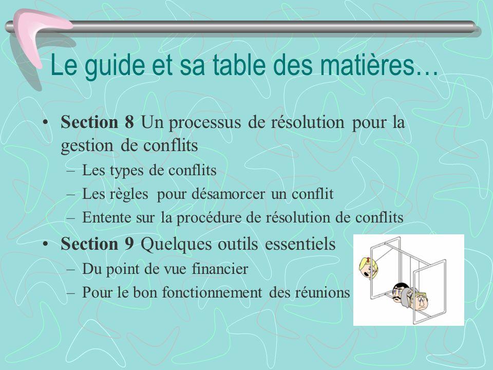Le guide et sa table des matières… Section 8Un processus de résolution pour la gestion de conflits –Les types de conflits –Les règles pour désamorcer