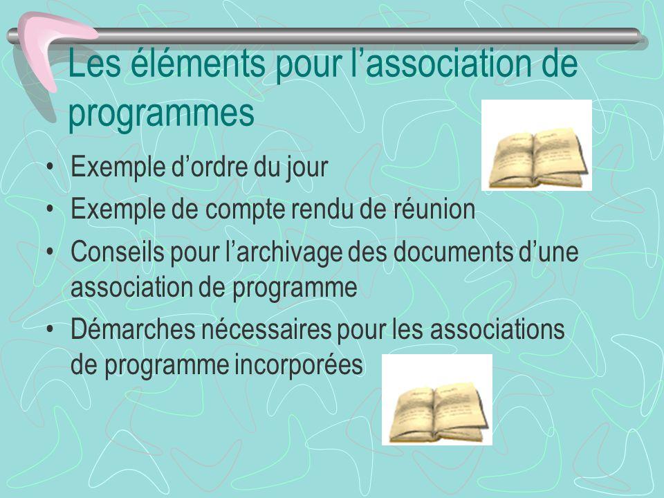 Les éléments pour lassociation de programmes Exemple dordre du jour Exemple de compte rendu de réunion Conseils pour larchivage des documents dune ass