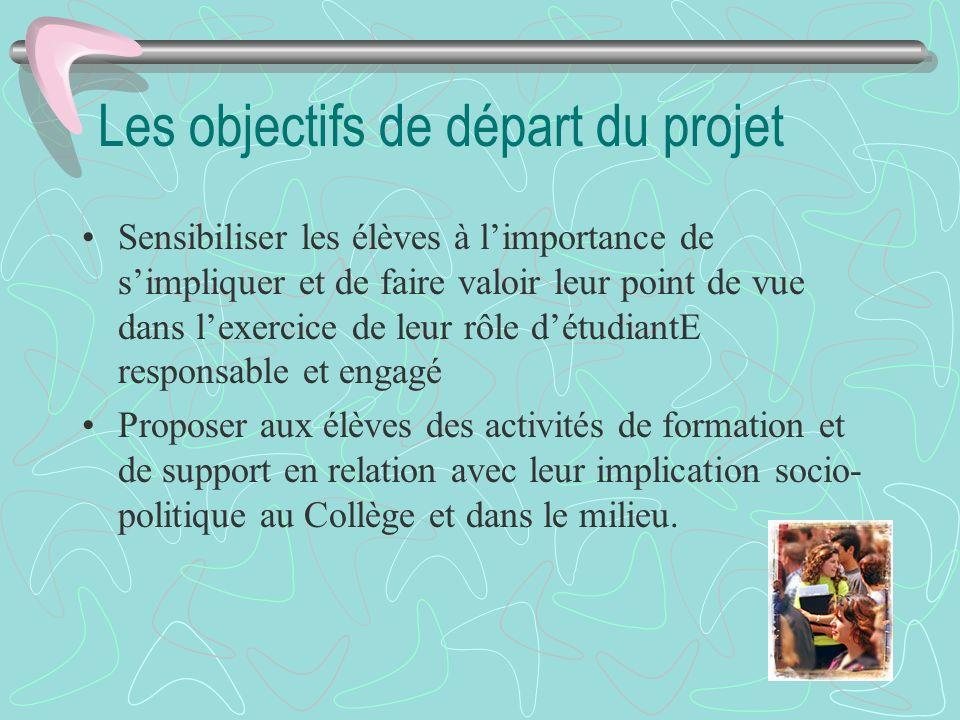 Les objectifs de départ du projet Sensibiliser les élèves à limportance de simpliquer et de faire valoir leur point de vue dans lexercice de leur rôle
