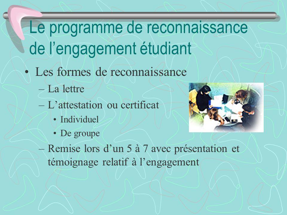 Le programme de reconnaissance de lengagement étudiant Les formes de reconnaissance –La lettre –Lattestation ou certificat Individuel De groupe –Remis