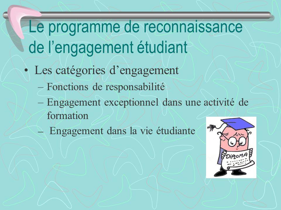Le programme de reconnaissance de lengagement étudiant Les catégories dengagement –Fonctions de responsabilité –Engagement exceptionnel dans une activ