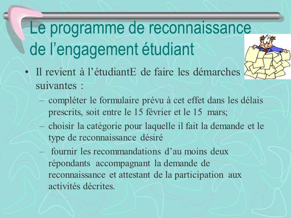 Le programme de reconnaissance de lengagement étudiant Il revient à létudiantE de faire les démarches suivantes : –compléter le formulaire prévu à cet