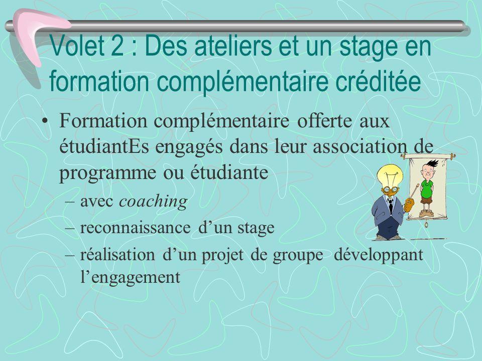 Volet 2 : Des ateliers et un stage en formation complémentaire créditée Formation complémentaire offerte aux étudiantEs engagés dans leur association
