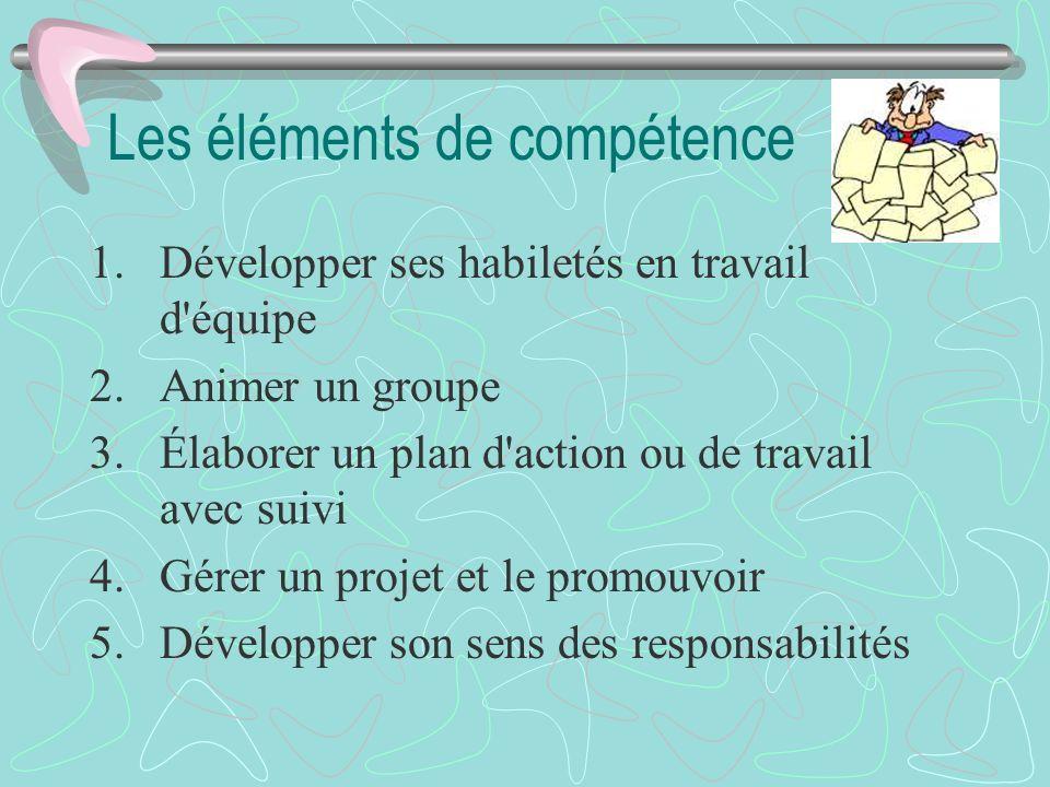 Les éléments de compétence 1.Développer ses habiletés en travail d'équipe 2.Animer un groupe 3.Élaborer un plan d'action ou de travail avec suivi 4.Gé