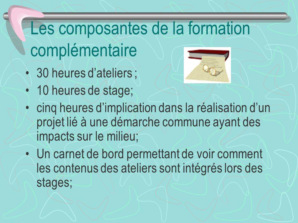 Les composantes de la formation complémentaire 30 heures dateliers ; 10 heures de stage; cinq heures dimplication dans la réalisation dun projet lié à