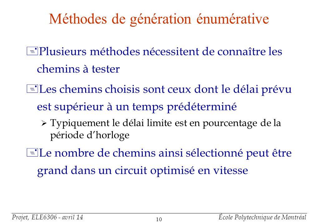 Projet, ELE6306 - avril 14École Polytechnique de Montréal 10 Méthodes de génération énumérative +Plusieurs méthodes nécessitent de connaître les chemi