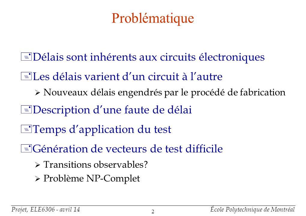 Projet, ELE6306 - avril 14École Polytechnique de Montréal 2 Problématique +Délais sont inhérents aux circuits électroniques +Les délais varient dun ci