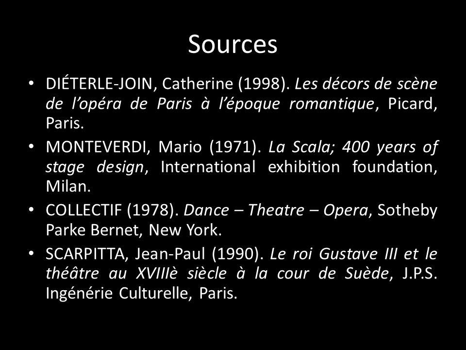 Sources DIÉTERLE-JOIN, Catherine (1998). Les décors de scène de lopéra de Paris à lépoque romantique, Picard, Paris. MONTEVERDI, Mario (1971). La Scal