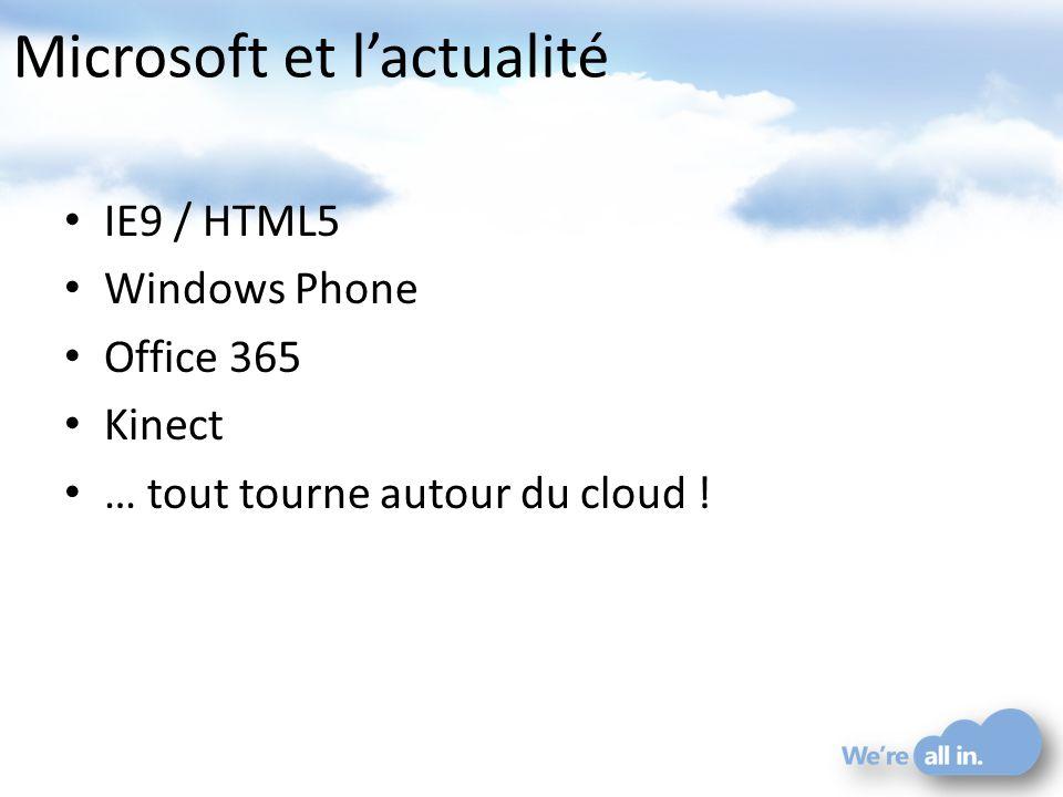 Microsoft et lactualité IE9 / HTML5 Windows Phone Office 365 Kinect … tout tourne autour du cloud !