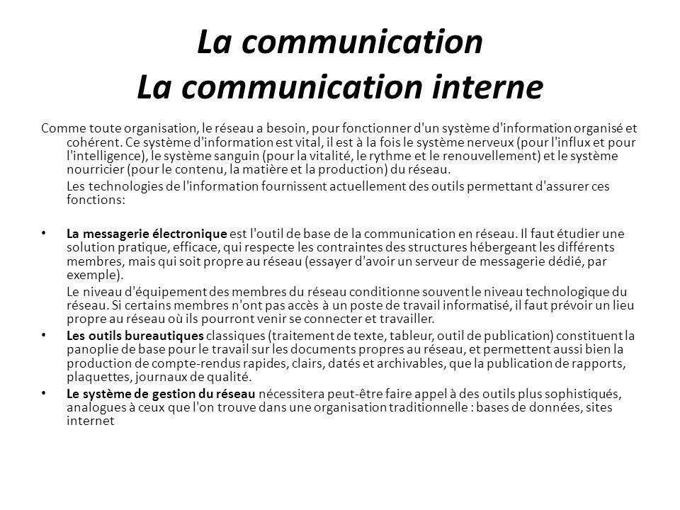 La communication La communication interne
