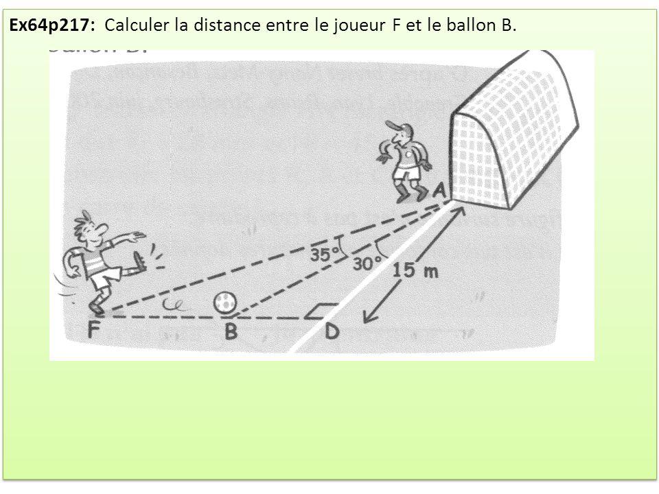Ex64p217: Calculer la distance entre le joueur F et le ballon B.
