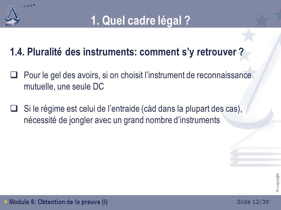 Slide 12/39 © copyright 1.4.Pluralité des instruments: comment sy retrouver .