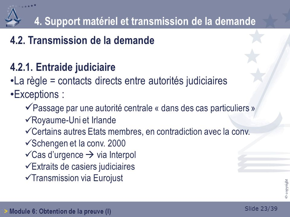 Slide 23/39 © copyright 4.2. Transmission de la demande 4.2.1.