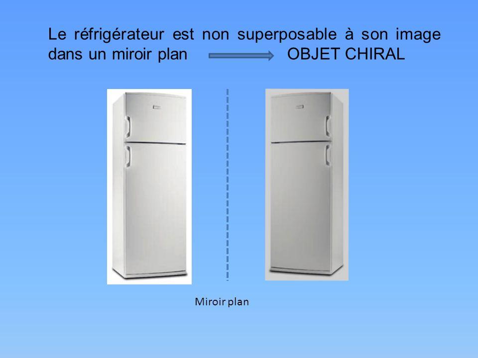 Le réfrigérateur est non superposable à son image dans un miroir planOBJET CHIRAL Miroir plan