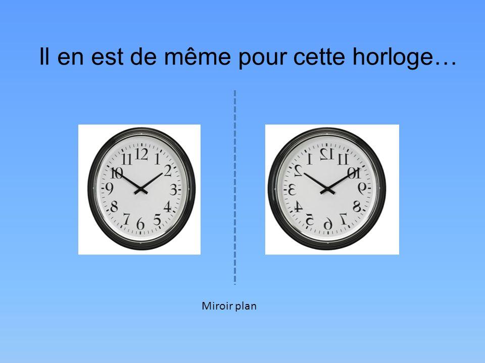 Il en est de même pour cette horloge… Miroir plan