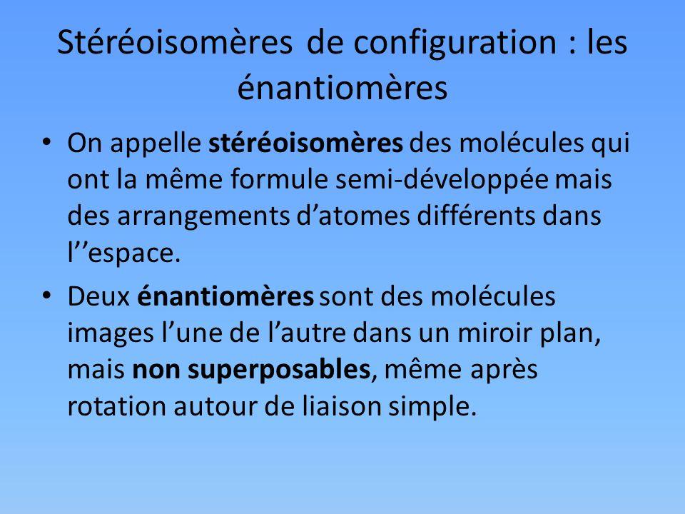 Stéréoisomères de configuration : les énantiomères On appelle stéréoisomères des molécules qui ont la même formule semi-développée mais des arrangemen