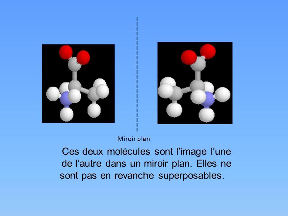 Miroir plan Ces deux molécules sont limage lune de lautre dans un miroir plan. Elles ne sont pas en revanche superposables.