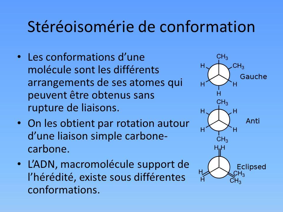 Stéréoisomérie de conformation Les conformations dune molécule sont les différents arrangements de ses atomes qui peuvent être obtenus sans rupture de