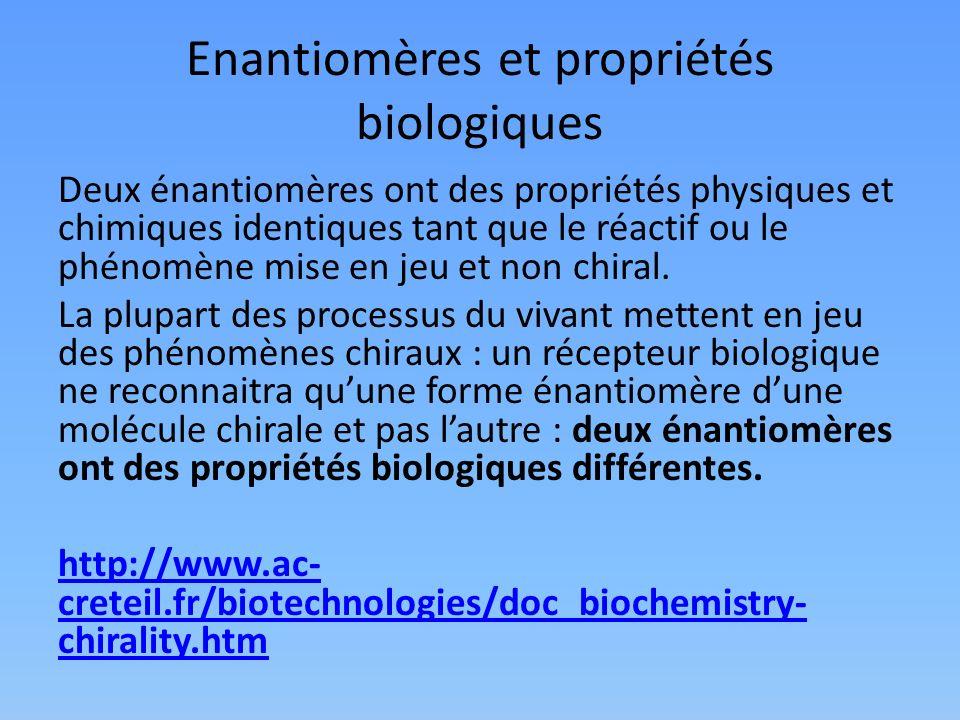 Enantiomères et propriétés biologiques Deux énantiomères ont des propriétés physiques et chimiques identiques tant que le réactif ou le phénomène mise