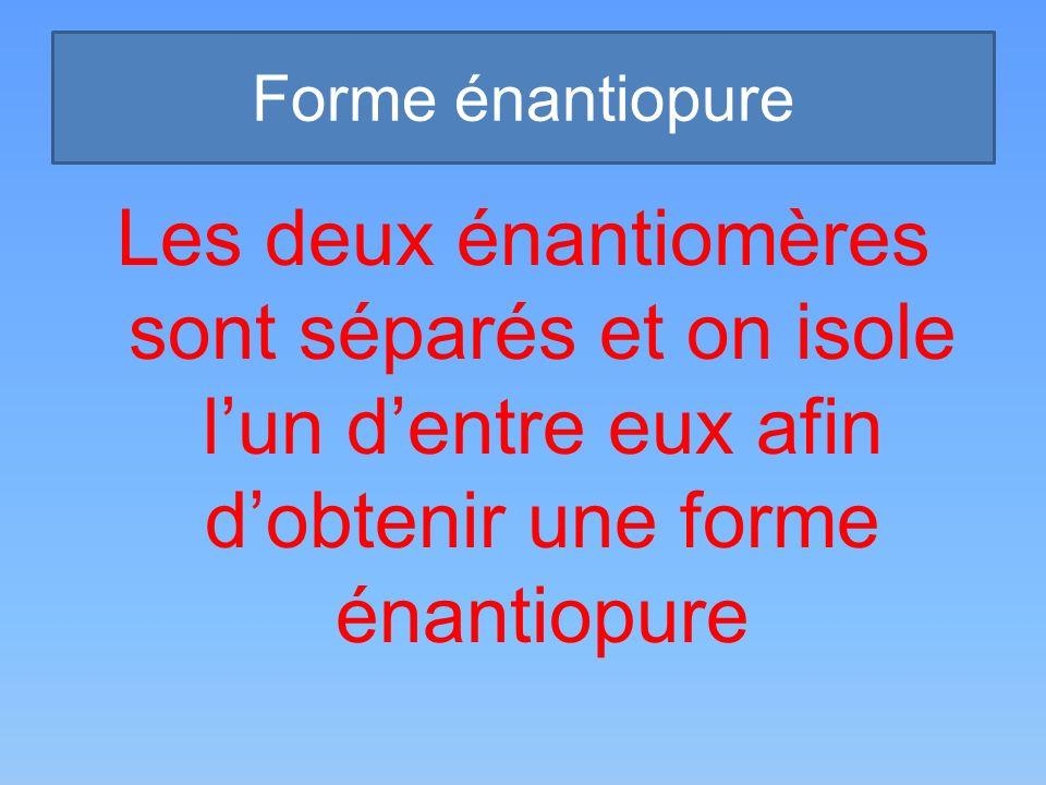 Forme énantiopure Les deux énantiomères sont séparés et on isole lun dentre eux afin dobtenir une forme énantiopure