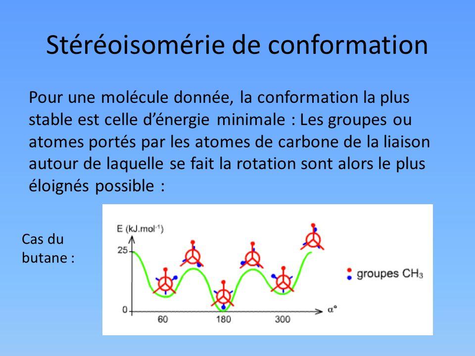 Stéréoisomérie de conformation Pour une molécule donnée, la conformation la plus stable est celle dénergie minimale : Les groupes ou atomes portés par