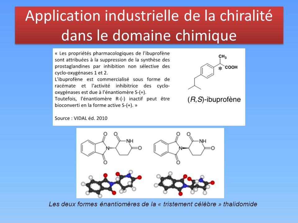 Application industrielle de la chiralité dans le domaine chimique Les deux formes énantiomères de la « tristement célèbre » thalidomide