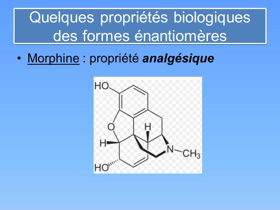 Quelques propriétés biologiques des formes énantiomères Morphine : propriété analgésique